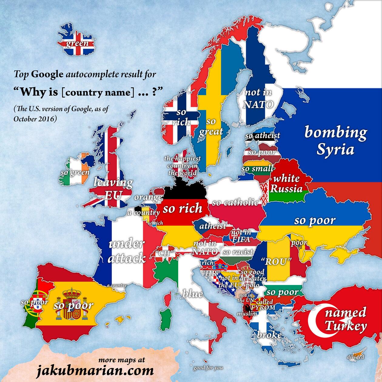 Mapa Inna Niz Wszystkie Europa Wedlug Wyszukiwarki Google
