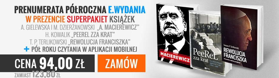 """Prenumerata półroczna w aplikacji mobilnej + """"Macierewicz"""" + """"PeeReL zza krat"""" + """"Rewolucja Franciszka"""""""